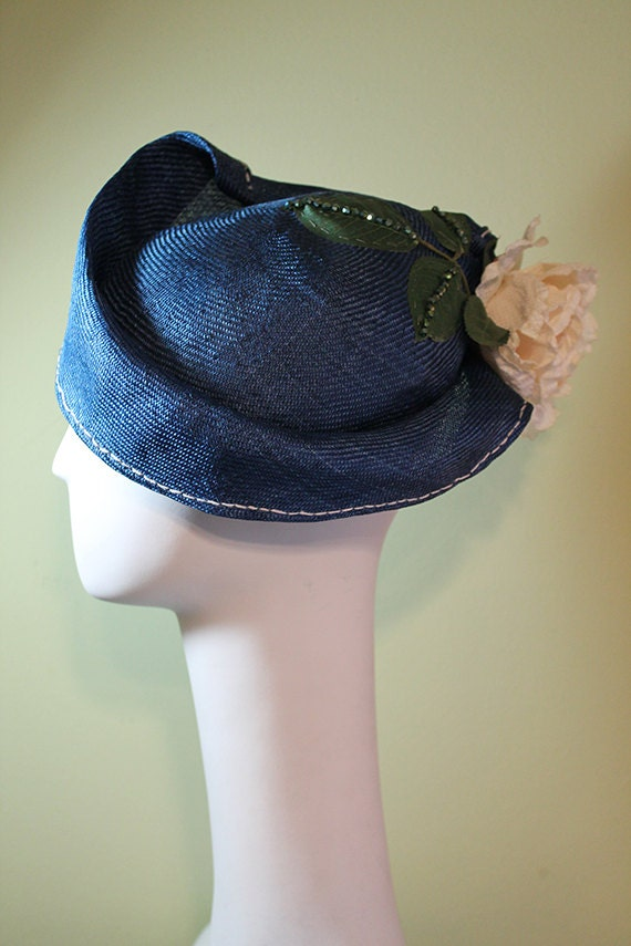 Blue Women's Straw Cloche Hat with Flower - Spring Summer Straw Women's Hat - Women's Derby Ascot Hat - OOAK