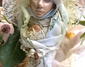 Ostara, Spirit of Renewal, Bohemian  art, Eco Botanical , Polymer Art Doll, Textile art doll, OOAK Art Figure, Bridal Shower gift.