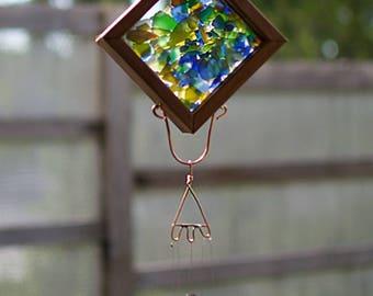 Wind Chime Sea Glass Copper Outdoor Windchime