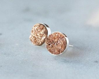 Champagne Druzy Earrings, Natural Drusy Gemstone, Sterling Silver Studs, 8mm Size Gems, Druzy Post Earrings, Drusy Studs, Handmade Jewelry