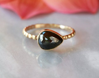 Black Diamond Ring, Rose Cut Pear Diamond, Pear Cut Unique Engagement Ring, 14k Yellow Gold Dotted Band, Modern Bride, Bridal Jewelry