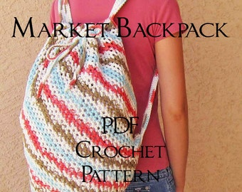 PDF Pattern for Market Backpack - Digital Download Crochet Instructions - American terminology, intermediate level