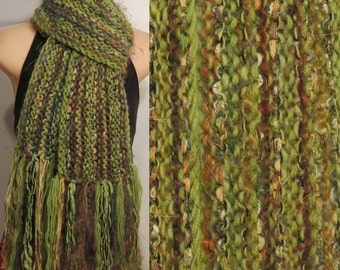 Hand Knit Gypsy Scarf Light Green Brown boho
