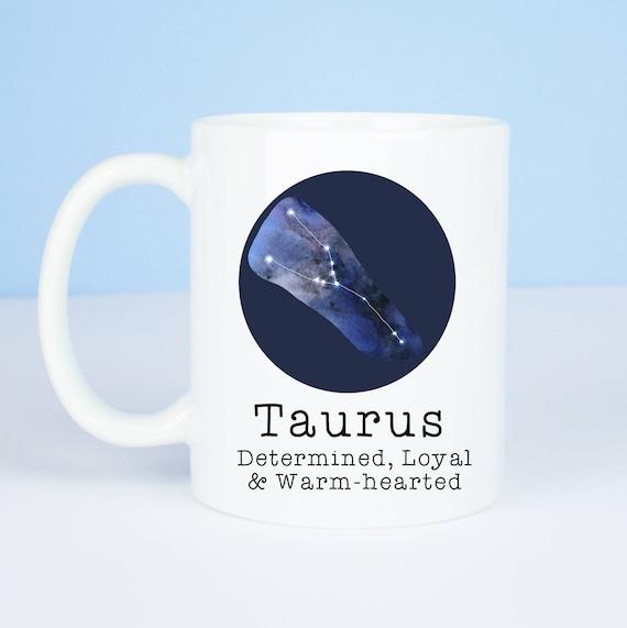 Taurus mug, Personalised back, lovely star sign Taurus mug, April 19 – May 20