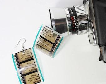upcycled jewelry - 35mm film earrings, bones