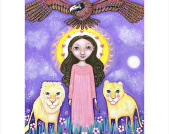 Eagle totem wall art print A3 girl and eagle art lion totem art girl and lion art girls room art nursery art whimsical folk painting lioness