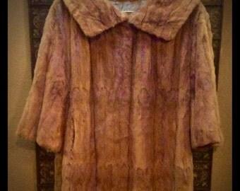 Gorgeous Authentic Vintage Antique FUR Mink Coat >> Long >> Honey Brown Red