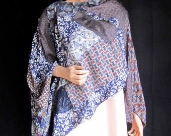 Poncho Shawl One Size Blue Cream Maroon Floral Patterned Patched Flowing Repurposed Apparel Upcycled Neckties Wrap Long Elegant Funky Unique