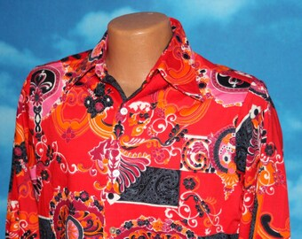California Originals by Townline Paisley Floral Red Medium Shirt Vintage 1960s