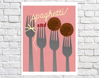 Italian Food Print Spaghetti And Meatballs Kitchen Art Pasta Poster Gift For Foodie Red Home Decor Fun Wall Art Diner Sign Food Illustration