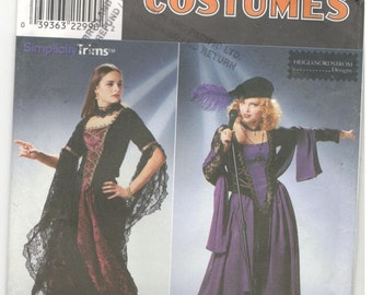 Simplicity 8750 Size 10, 12, 14 Women's gothic, renaissance, medieval, gypsy costume dress pattern: corset, cosplay, halloween, ren faire