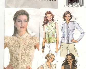 Butterick 4801  Size 16, 18, 20, 22  Plus size pattern: long or cap sleeve or sleeveless top / blouse / shirt , lace, button down, easy