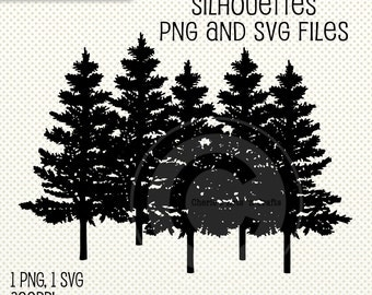 Row of Pine Trees Silhouettes | PNG and SVG Files | Digital Scrapbooking Elements | Tree Clip Art | Pine Trees Cliparts | Cut Files | TreeS