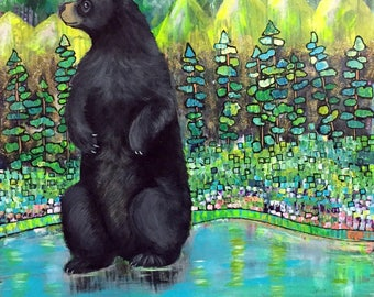 Large Original Modern Art Intuitive Painting of Black Bear in Water Lotus Flowers by Carol Iyer