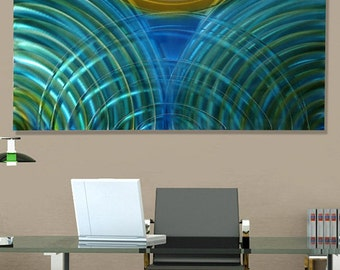 Contemporary Metal Wall Art in Blue, Teal & Yellow, Modern Home Decor, Abstract Wall Accent, Indoor Outdoor - Aquatic Sunrise by Jon Allen