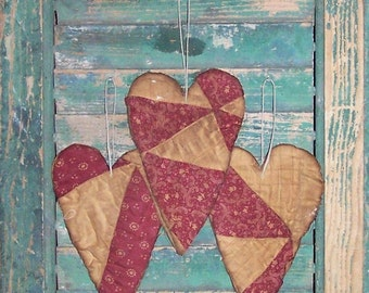 3 Rustic Heart Ornaments, Farmhouse Decor Primitive Hearts Antique Quilt Tattered Hearts, Paisley Floral Claret White - READY TO SHIP