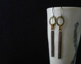 reduced - tonic - mixed metal chain tassel earrings - art deco inspired handmade jewelry