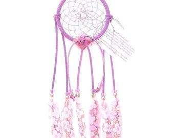 Purple Dream Catcher, Printed Floral Duck Feathers