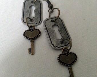 Steampunk Key to my Heart Earrings III -- mixed metals