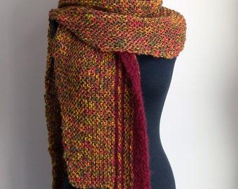 SALE - Hand Knit Shoulder Shawl Scarf Cowl Wrap, Stylish Comfort Prayer Meditation, Rust Red Orange Gold Green, Ready to Ship, FREE SHIPPING