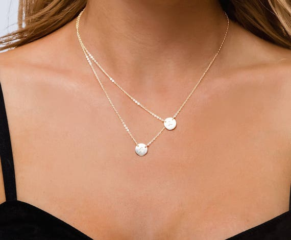 Small circle layered necklace double initial charm two like this item mozeypictures Images