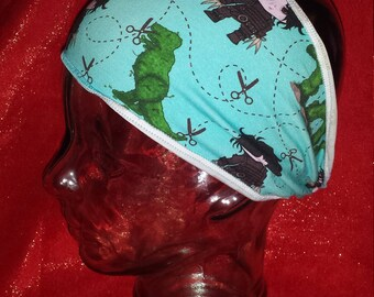 Edward Scissorhands Custom Print Cotton/Lycra Stretch Knit Scrunchy Wide Headband