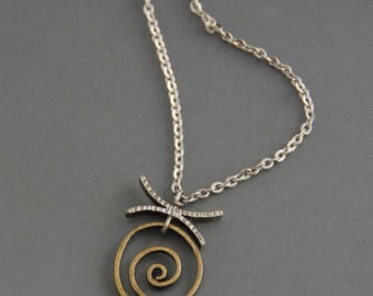 Spiral Pendant, mixed metal necklace, sterling silver, brass, oxidized, rustic, earthy, textured, metalwork, hand fabricated, small pendant