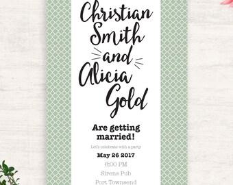 Printable Engagement Invitation / Sage green wedding / Wedding Invitation /  Pattern Invitation /