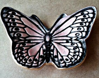 Ceramic Butterfly Ring Dish Pale Coral edged in Gold
