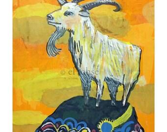 year of the Goat ... giclee art print • animal • ram • portrait • lunar new year • mountain • orange • blue • yellow • pattern • sunset