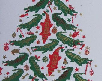 Alligator Tree Christmas Card - box of 6 - hand silkscreened