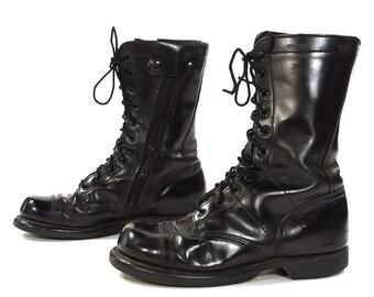 80s Bates Combat Boots /Vintage 1980s Black Leather Lace Up Military Punk Rock Ankle Boots with Zippers / Men's Size 8 / Women's Size 9.5