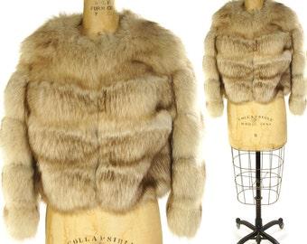 80s White Fox Fur Coat Vintage 1980s Blue Silver Arctic Polar Genuine Fur Cropped Coat I Magnin Designer Glamour Diva Hollywood Party Coat