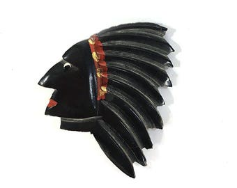 30s Indian Chief Pin Vintage Native American Tribal Brooch Carved Horn Figural Collectible Rare Argentine Painted Black Feather Head Dress
