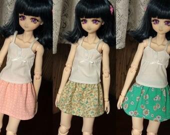 MSD and Obitsu Short Gathered Skirt Pastel Prints