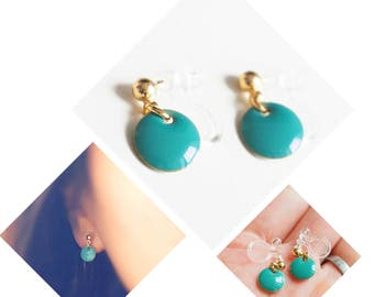 Invisible Clip On Earrings. Non-pierced Earrings. U-Clip Earrings. Golden Drop. Turquoise Earrings. Enamel Earrings
