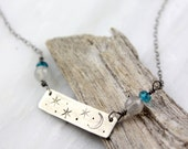 Moon and Stars Stamped Silver Bar with Labradorite and London Blue Topaz Necklace