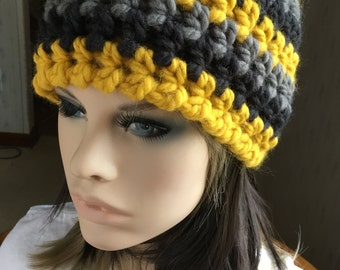 Crochet Hat Golden Yellow Hat Chunky Crochet Hat
