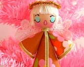 Vintage Style Kitsch 70s Fabric Christmas Angel Ornament - alice apple Fabric