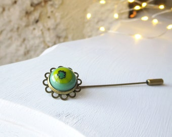 Brooch Pin, Boho Flower Brooch, Fused Glass Stick Pin, Pretty Bohemian Lapel Pin,