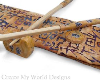 Chopsticks, Chopstick Rest Set Polymer Clay with Matching Fabric Carrying Case