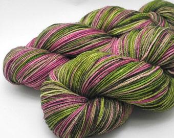Garden of Live Flowers Watercolor Stripes, A Wonderland Pop Culture Yarn - Self-Striping Targhee Sock Yarn Made to Order