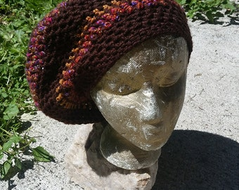 Hippie Handmade Crochet Tam Slouch Hat Dreadlock Cap ~Earthy Brown with Bright Bands~