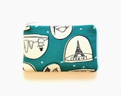 Small Zipper Pouch, Coin Purse, Women's Wallet, Snowglobes in Teal, Tinsel Collection by Cotton + Steel