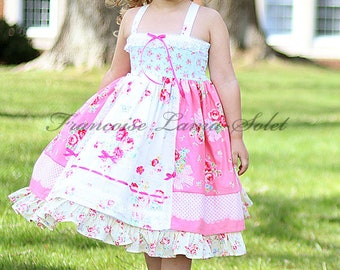 Romantic shabby country pink patchwork dress, Easter tea party twirl dress, country chic flower girl dress, birthday girl formal dress