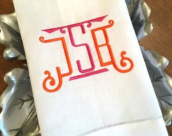 Chinoiserie Monogram Linen Hemstitch Guest Towel. Powder Room Decor. Bar Cart Accessories. Hostess Gift. Wedding Gift. Embroidered Linens