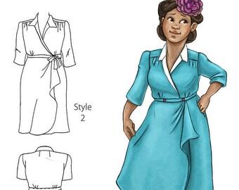 The Shelley 1940s wrap dress NVL plus size multi size repro vintage sewing patterns