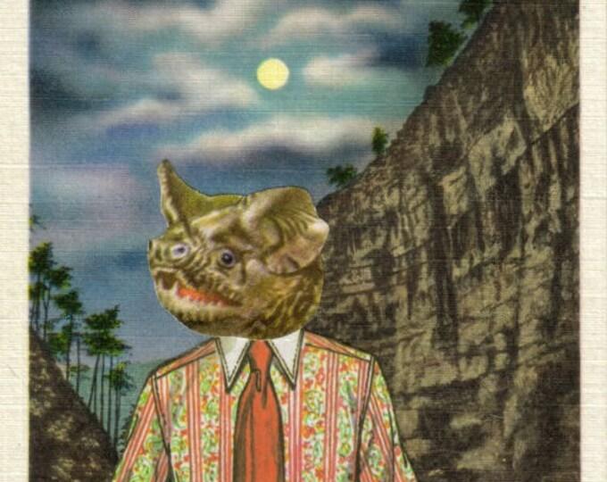 Funny Bat Artwork, Hipster Bat Art Collage