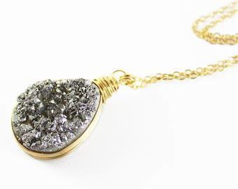 Silvery Druzy Quartz Necklace, Druzy Gemstone Necklace, Teardrop Pendant Necklace, Wire Wrap Necklace, Gold Fill Necklace, Silver Gemstone