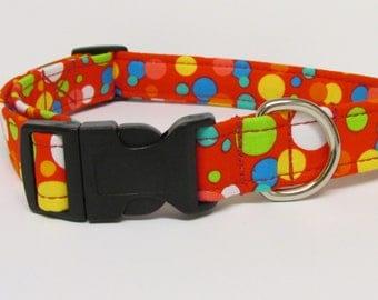 Circles/Dots on Red Printed Handmade Dog Collar